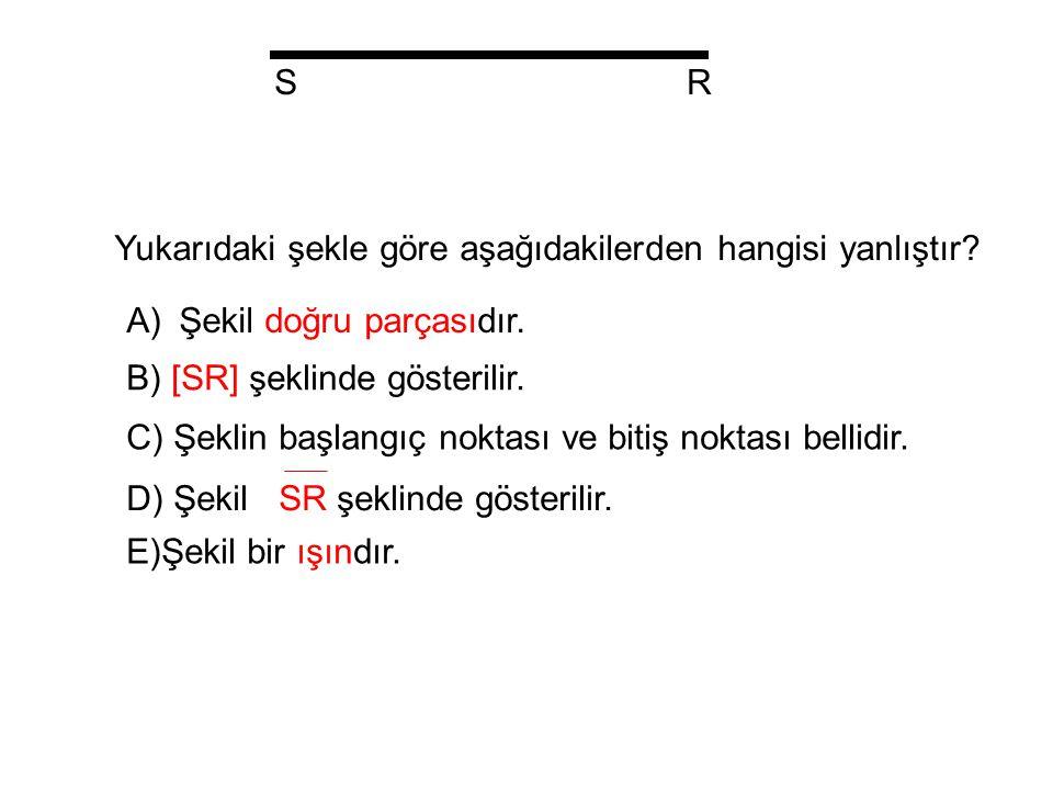 S R. Yukarıdaki şekle göre aşağıdakilerden hangisi yanlıştır Şekil doğru parçasıdır. B) [SR] şeklinde gösterilir.